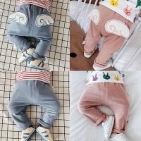 婴儿春秋长裤宝宝天使翅膀春天大PP裤子0-3-6-12个月男女童毛圈裤