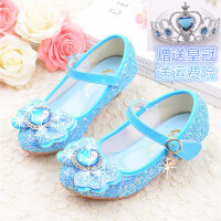 女童皮鞋亮片高跟公主鞋儿童4-12岁水晶鞋小朋友表演单鞋
