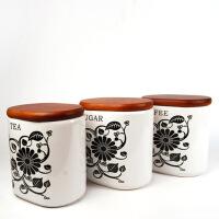 普润 厨房用品陶瓷密封罐三件套 大号储藏罐 零食罐 炒货罐 黑色