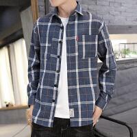 春秋格子衬衫男长袖韩版潮流修身衬衣青年寸衫