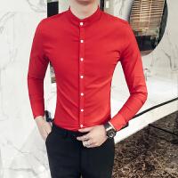 2018春款新款男士纯色长袖衬衫小立领修身衬衣红色新郎伴郎潮寸衣