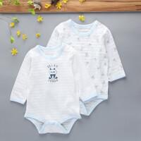 2件新生婴儿三角哈衣夏季款包屁衣宝宝长袖打底爬服 100(建议20-24斤 75-85)