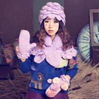 花瓣毛线帽子围脖手套三件套贝雷帽披肩可爱球森女风保暖套装