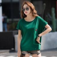 新款韩版棉短袖t恤女宽松纯色加大�B夏装半袖大码百搭体恤