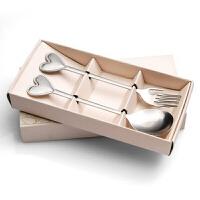 可爱心型柄叉勺套装 礼盒装创意心形不锈钢便携餐具套装