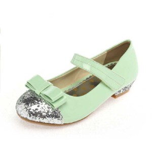 Shoebox鞋柜 蝴蝶结亮片拼接小坡跟魔术贴女童鞋皮鞋