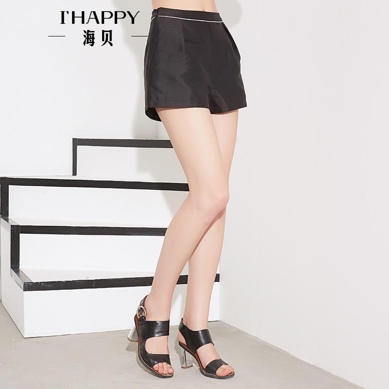 海贝秋季新款短裤女 高腰修身纯色休闲短裤