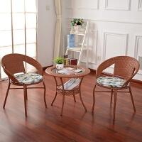户外藤条椅子茶几三件套装室腾阳台休闲桌椅组合咖啡厅编织小圆桌 1桌2椅仿古色【普通款】 *包