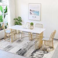 2019新款轻奢家具大理石餐桌椅组合北欧风铁艺长方形饭桌家用餐桌