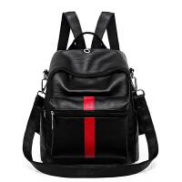 韩版时尚双肩包女新款休闲百搭大容量妈咪包单肩斜跨两用背包 黑色红条