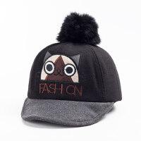 卡通毛球刺绣可爱女孩宝宝帽帽子儿童鸭舌帽男童棒球帽