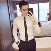 白色衬衫男韩版修身色长袖衬衣男士职业正装寸衫新郎结婚潮