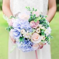 奇居良品 玫瑰绣球仿真花束新娘手捧花摄影道具假花绢花花束 多款