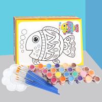 儿童水彩画填色颜料画涂鸦画油画套装益智手工幼儿园画画涂色画卡
