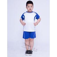 儿童足球服套装短袖夏季训练服运动透气速干男童比赛球衣队服 白色 XXS