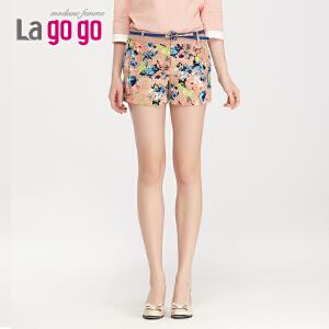 lagogo拉谷谷春季新款时尚印花潮流短裤