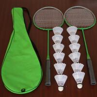羽毛球拍双拍拍包12只塑料羽毛球健身业余初级健身器材