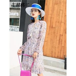七格格蕾丝雪纺连衣裙女夏装新款港味复古chic裙气质宽松温柔仙女裙