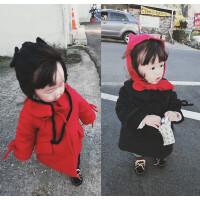 女童加厚毛呢大衣201冬季装新款韩版小女孩蝴蝶结中长款保暖外套