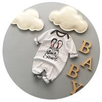 宝宝连体衣春秋新生儿连体衣0-3-6月纯棉婴儿春装外出服可开裆潮