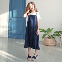 女童套装裙夏装文艺气质淑女棉麻连衣裙儿童吊带裙蕾丝上衣两件套