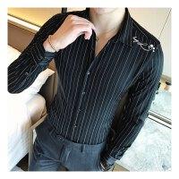 长袖衬衫男修身韩版条纹寸衫商务青年免烫夜店发型师衬衣