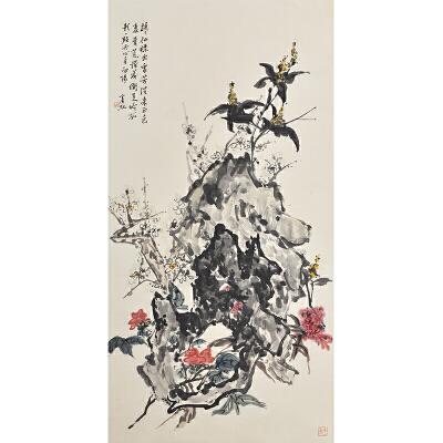 K1774  黄宾虹(款)《花卉》(原装旧裱满斑)