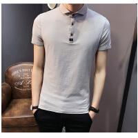 新款韩版男士短袖袖T恤修身翻领t恤打底衫polo衫