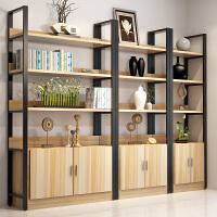 定制 书柜带门简约书架钢木置物架客厅储物柜多层隔断办公室书橱