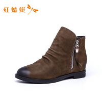 红蜻蜓女鞋新款百搭时尚舒适系带短靴英伦风潮流短筒靴