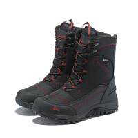 冬户外男女雪地靴防水防滑登山鞋加绒加厚滑雪鞋大码东北棉鞋 款1黑红 标准运动码