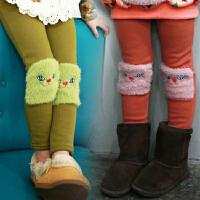 *儿童装女童加绒加厚打底裤子秋冬装新款女孩保暖长裤