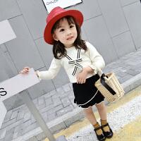 霓婴坊 女童洋气套装2018潮款套裙韩版宝宝针织上衣裙子两件套装