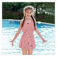 中大童游泳衣女孩沙滩泳装平角学生新款女童连体泳衣公主儿童裙式