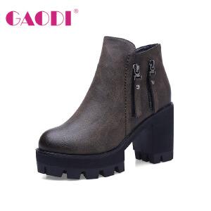 高蒂短靴新品马蹄跟拉链加绒中筒女靴子欧美时尚高帮鞋子女