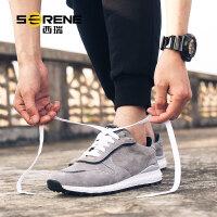 西瑞运动鞋子男生反绒皮休闲板鞋2017新款透气慢跑鞋英伦男鞋9183