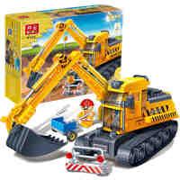 【小颗粒】邦宝拼插积木益智教育玩具工程车情景模拟 挖掘机8536