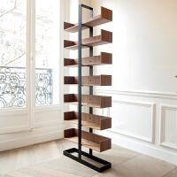 北欧实木转角架置物架创意陈列架落地酒架隔断多层书架展示架定制 60x25x高240 (7层)