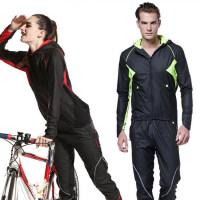 防风休闲款男女骑行服套装 新款户外保暖自行车骑行长裤长袖上衣套装