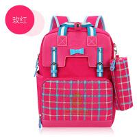 韩版儿童可爱书包小学生女孩2-3-4-5年级双肩减负女童公主6-12岁 玫红色 2325*品
