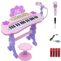 儿童玩具女孩早教益智多功能灯光电子琴 宝宝初学钢琴玩具带麦克风声光标准37键音乐钢琴