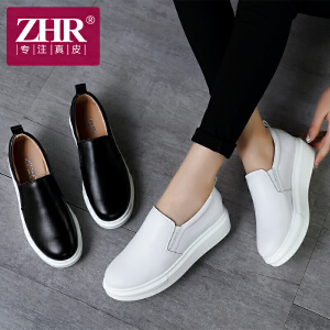 ZHR2017春季新款韩版平底女鞋真皮休闲单鞋厚底学生鞋子E58