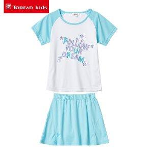 探路者童装 儿童T恤圆领套装中大童2017夏季新款女童半身裙两件套