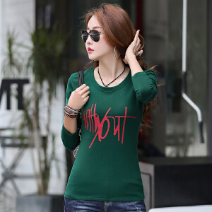 秋冬季新款 圆领长袖纯棉时尚韩版印花女士t恤上衣