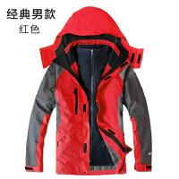 冬季户外冲锋衣男女三合一可拆卸两件套秋季防水大码加绒加厚西藏 经典男款 红色
