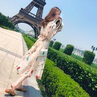 连衣裙夏季2018新款女装韩版显瘦印花雪纺收腰超仙温柔风中长裙子