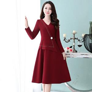 连衣裙秋女长袖2018新款韩版修身时尚中长款气质淑女秋季裙子显瘦