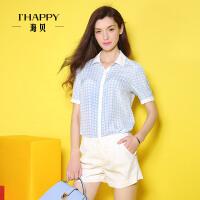 【2件5折】海贝2016年夏装新款衬衫女 街头风清新格纹翻领运动休闲中袖衬衫