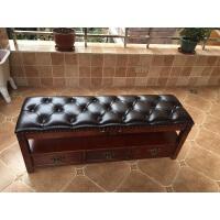 美式实木换鞋凳储物凳欧式鞋凳带抽屉鞋柜凳穿鞋凳沙发凳
