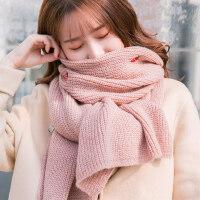 户外羊毛围巾韩版百搭毛线加厚保暖学生可爱针织围脖